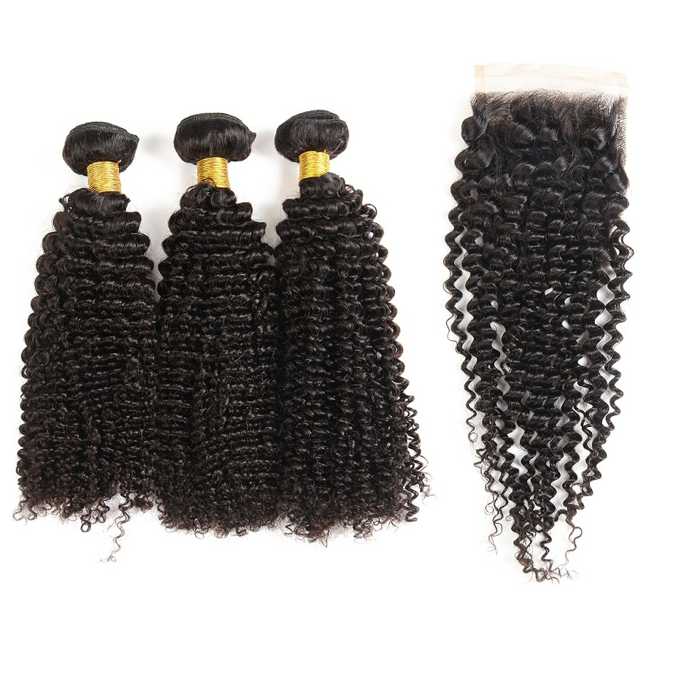8A Brazilian Peruvian Malaysian Indian Remy Kinky Curly Virgin Human Hair Hair Weaves Bundles Extensions With Lace Closure, Natural color