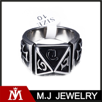 Punk Cross Stainless Steel Silver Mens Pyramid Charm Ring