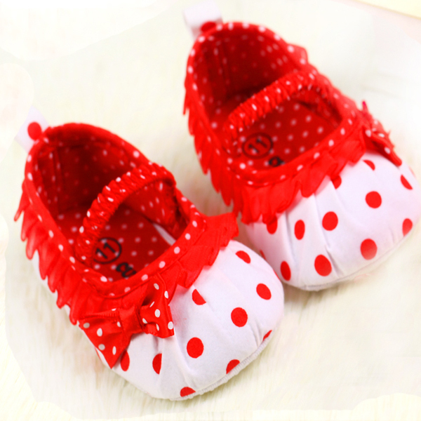 0 18month new born baby girl shoes fashion dot bow lace baby shoes toddler shoes kids