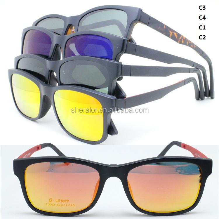 007 Di Memoria Flessibile Ultem Alla Moda Optical Occhiali Da Vista Frames Di Forma Quadrata Con La Clip Magnetica Polarizzati Lente Occhiali Da Sole
