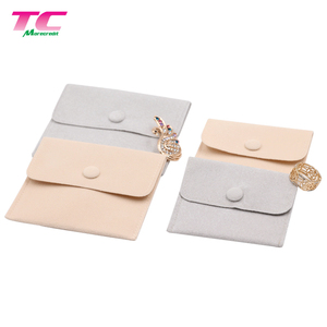 Reusable Luxury Jewelry Envelope Packaging Stock Snap Button Suede Jewelry Pouch For Travel