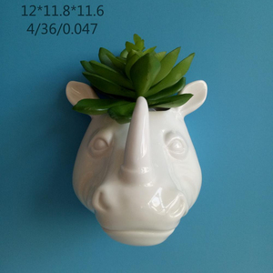 Wall mounted Flower pot, Hanging Planter, Rhino Head