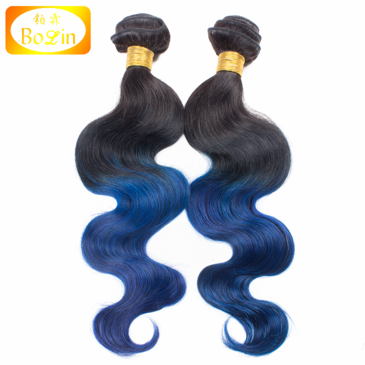 Wholesale Ombre Blue Human Hair Extensions Body Wave Raw Indian Temple Hair Weave