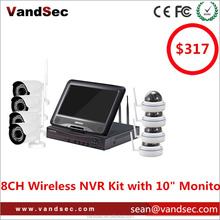 "Vandsec 10"" Monitor 8CH Wireless NVR Kit Home Security Camera System Wireless IP CCTV Camera System Built-in Router 8CH NVR Kit"