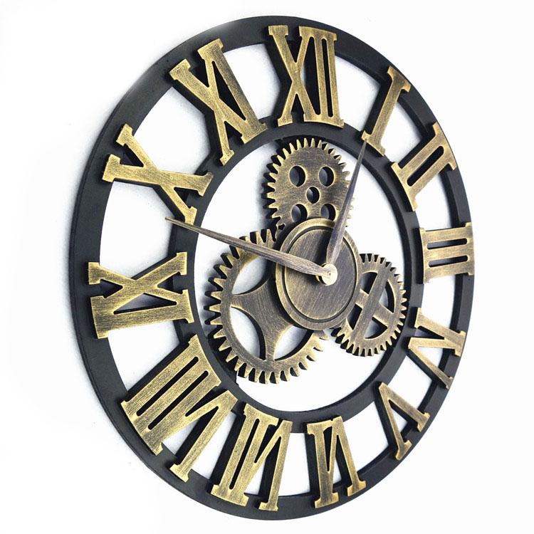 main 3d r tro rustique vintage engrenage classique horloge antique style luxe d coratif grand. Black Bedroom Furniture Sets. Home Design Ideas