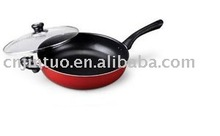 Aluminum Mom-stick Red Wok with Glass Lid