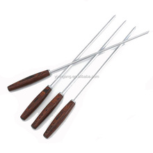 Wooden Handle Kebab Stainless Steel Skewer Set