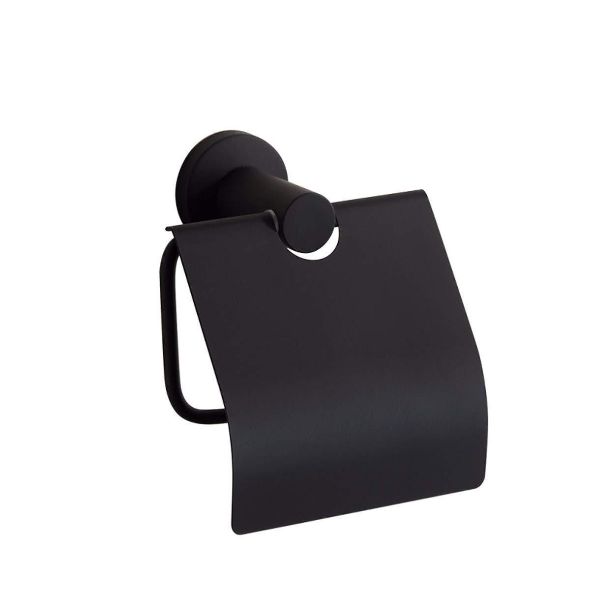 FYERBU-Non Perforated Black Simplified 304 Stainless Steel Towel Rack Toilet Lid Roll Paper Rack Pendant