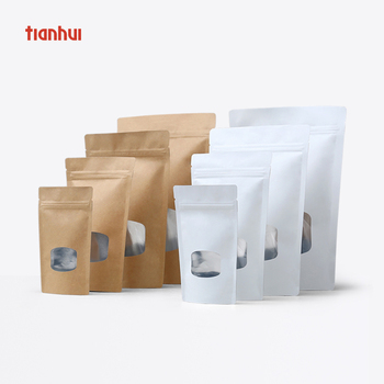 Food grade customized stand up pouch bag kraft paper bag with clear window
