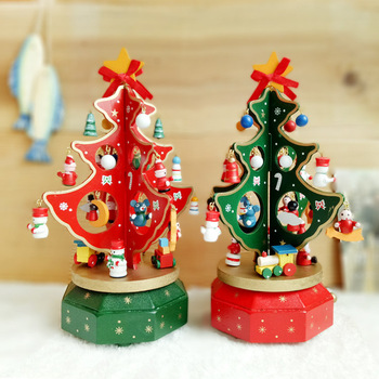 christmas decoration tree wooden rotating christmas tree stand with music box