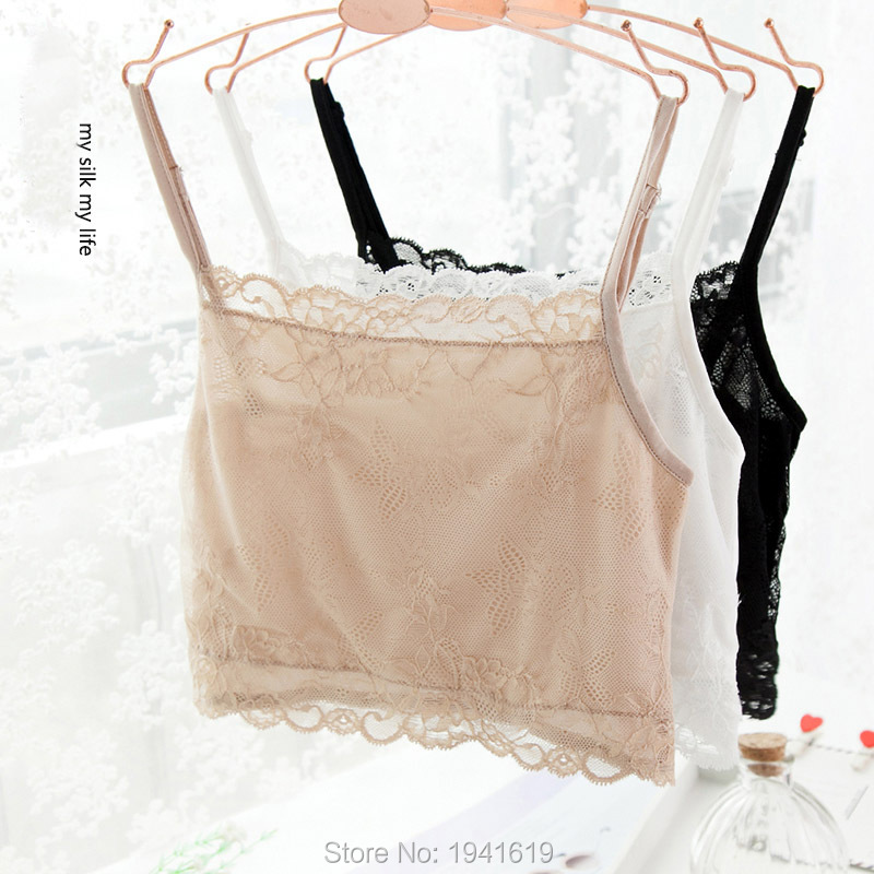 new arrival female 100 pure silk tube tops silk plus size knitted lace wrapped chest underwear