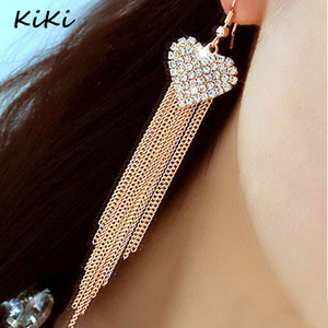 >>>2017 Fashion Vintage Crystal Heart Hanging Earrings Long Tassel Gold/ Silver Color Drop Earrings For Women Jewelry
