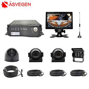 Wireless 7 inch 4 Split QUAD Car Monitor Rear View Camera Realtime Video/Audio Recorder For Bus/Schoolbus/Truck