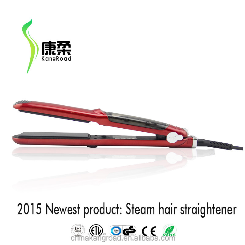 2015 new Red color Pro tourmaline steam hair flat iron/hair straightener with argan oil
