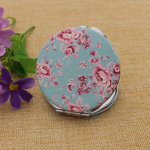 Custom good quality mini blue compact mirror pu leather mirror for sale