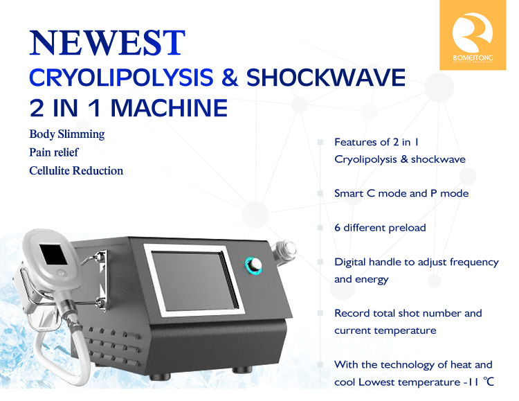 Body slimming & pain relief cryolipolysis shockwave therapy machine