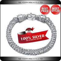 Wholesale High Polished Dragon Design 925 Silver Men bracelet Jewelry