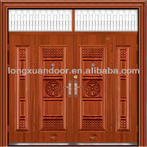 Ventilate steel double entry security door for house