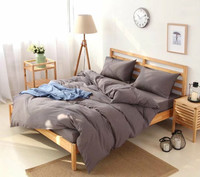 7 piece bedding set, solid color bedding set, simple technics bedding set for home or hotel