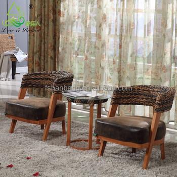 2016 new modern design rattan water hyacinth wooden coffee shop