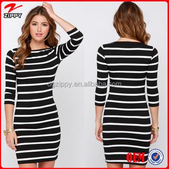 644a8b995 2016 vestidos ocasionales vestidos casuales raya blanco y negro vestido  largo