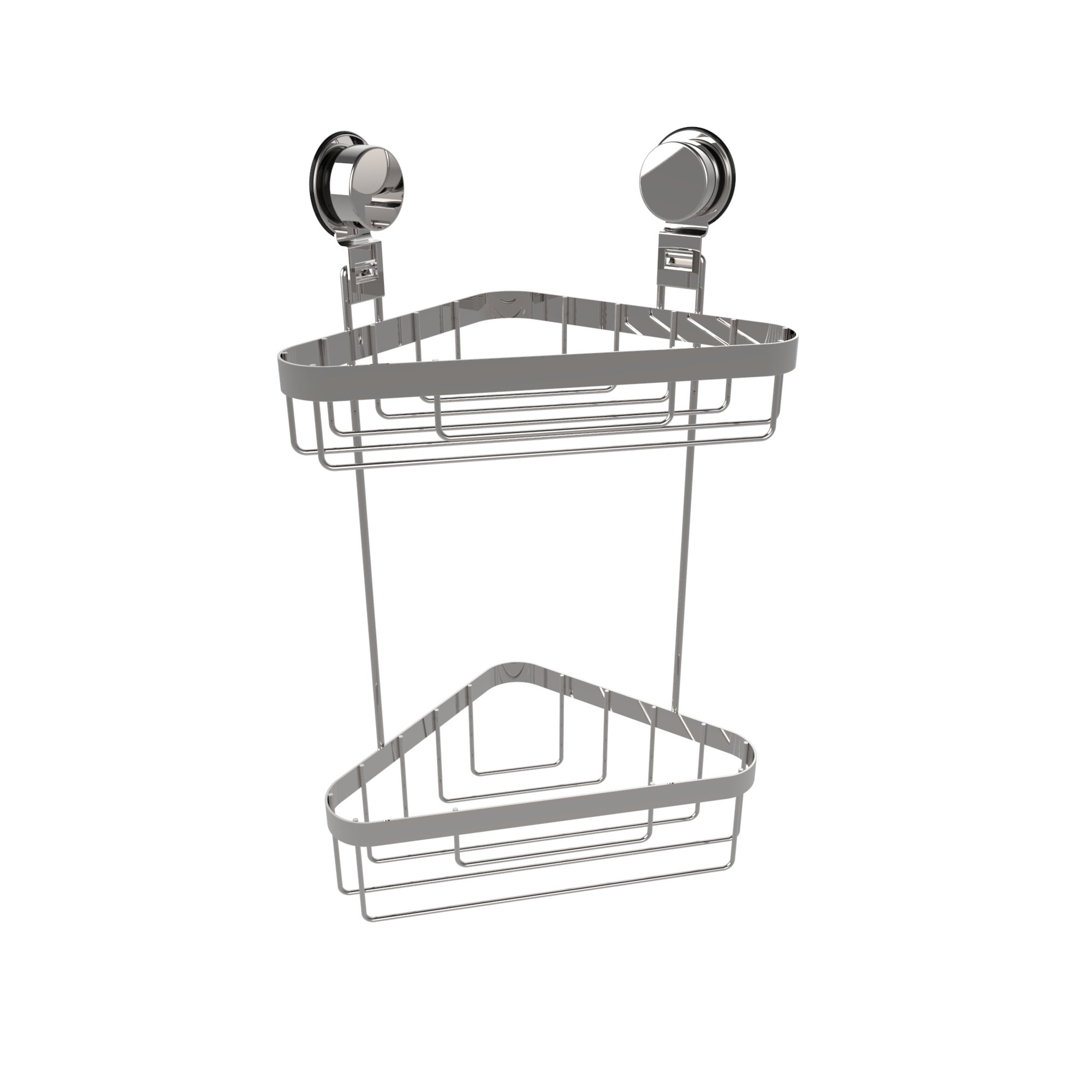 Lavish Home Wall Mounted Two Tier Corner Caddy-Shower Storage Rack for Bathroom Organizing with Stainless Steel Twist Lock Suction Cups