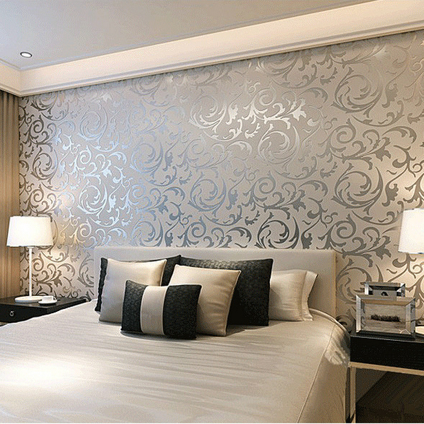 Wallpaper For Bedroom Walls Designs: Simple European 3D Stereoscopic Relief Crochet Woven