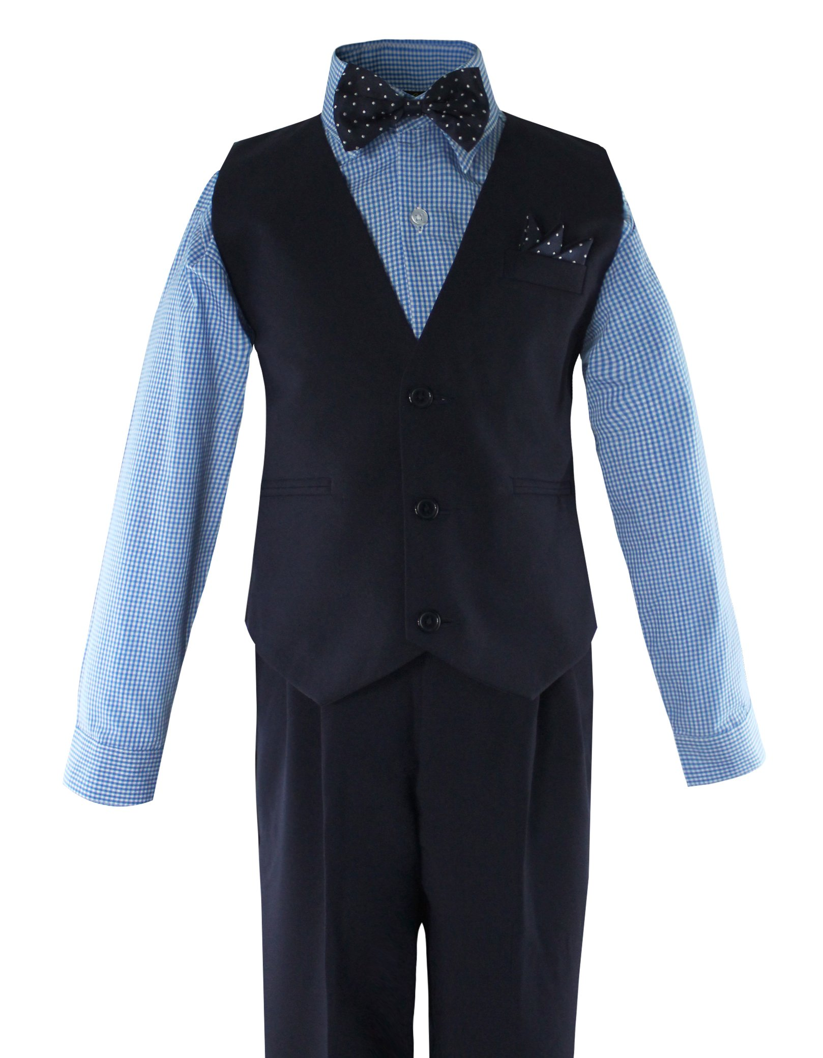 5efae4494510 Get Quotations · Luca Gabriel Toddler Boys  5 Piece Vest Shirt Bow Tie Pant  and Hanky Set