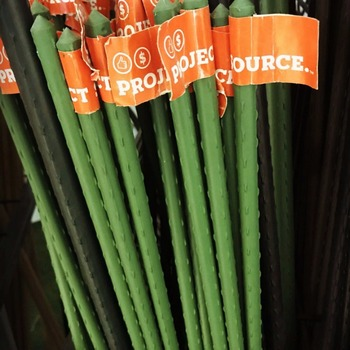 Green Steel Garden Stakes PE Plastic Coated 8mm Diameter , 60cm Length  Plant Support Steel With