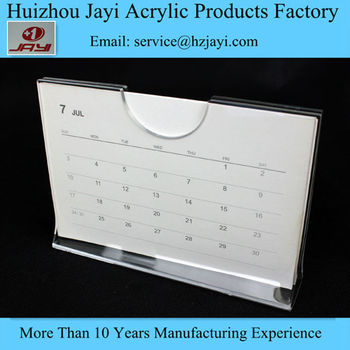New Transparent One Piece Plastic Acrylic Calendar Frames Holder