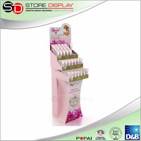 Super quality cardboard custom merchandise display,4C printing e paper display stand,make up display stand