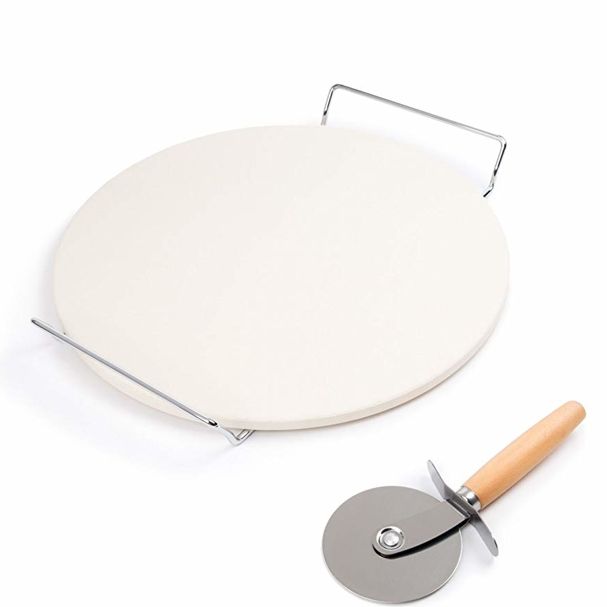 Pizza cookware cordierite oven baking stone set with stainless steel pizza cutter wheel and iron serving rack