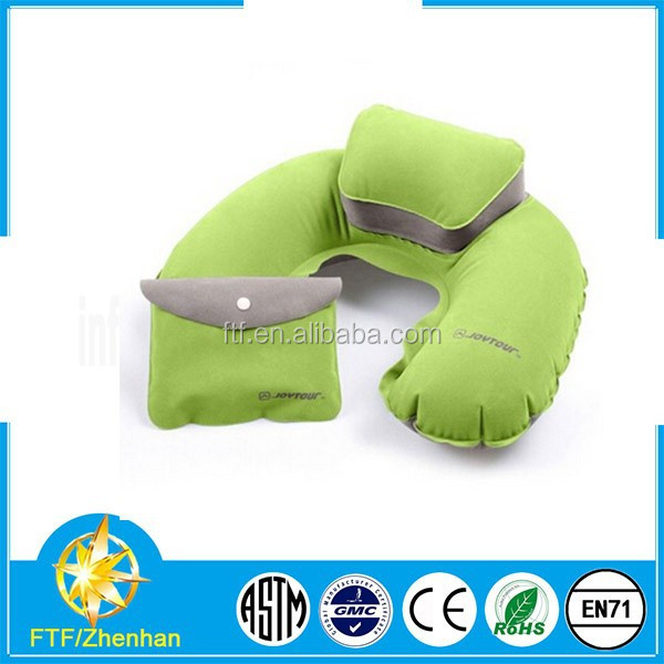 inflatable flocking pillow/inflatable travel pillow