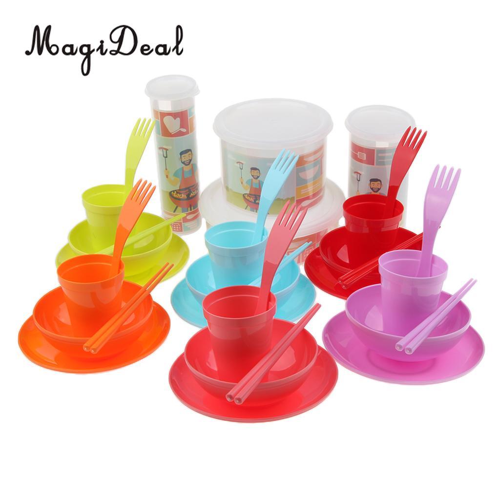 Food Grade Reusable Outdoor Party Picnic Camping Tableware Set Magideal 24pcs 4 Mugs 4 Soup Bowls 4 Spoons 4 Forks 8 Plates