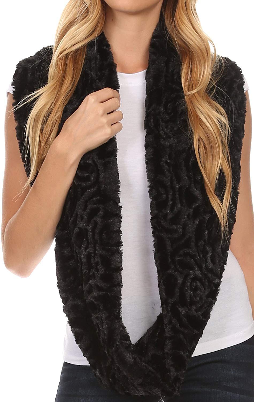 Sakkas Mellah Long Wide Soft Fuzzy Furry Fur Infinity Fall Winter Wrap Scarf