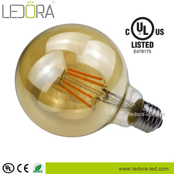 4W Led Bulb G95 Dimmable Edison Style E27 Amber Led Filament Bulb for Decoration