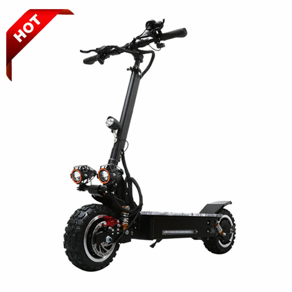 3200W dual motor powerful electric scooters 11inch fat tire foldable off road adult e scooter with lithium battery, Black for big powerful electric scooter