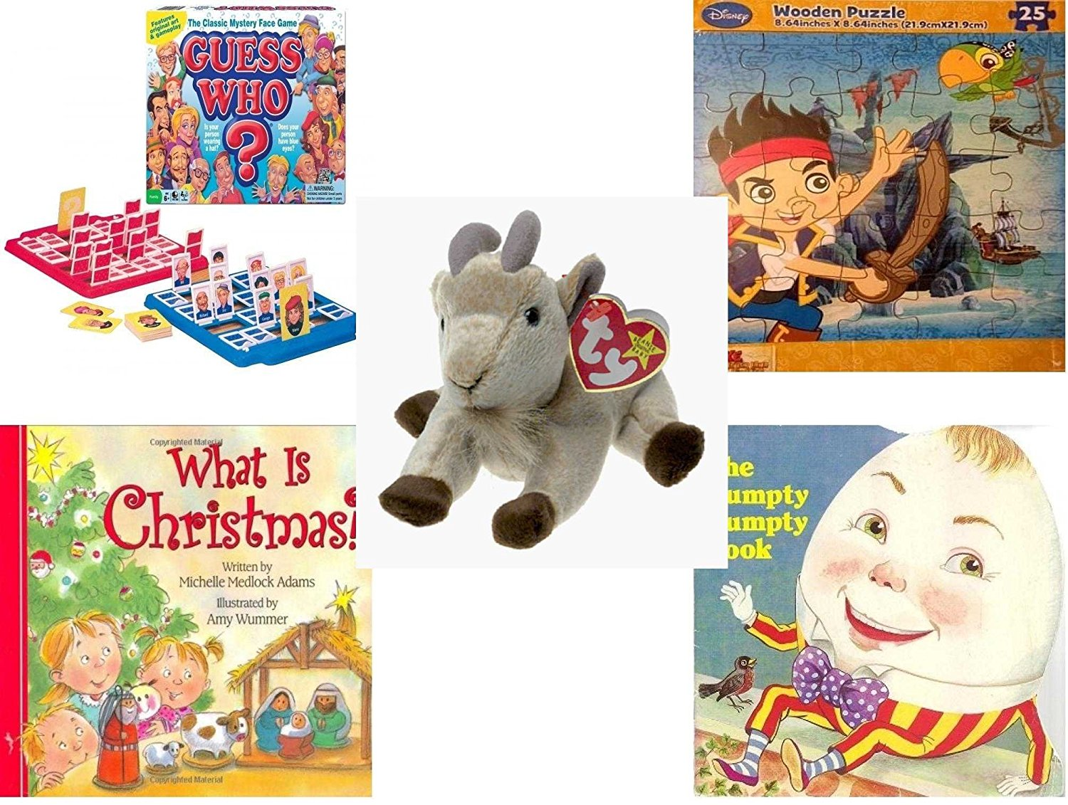 Children's Gift Bundle - Ages 3-5 [5 Piece] - Guess Who? Board Game - Disney Jake and The Never Land Pirates Puzzle Toy - TY Beanie Baby - GOATEE the Goat - What Is Christmas? Board Book - The Hump