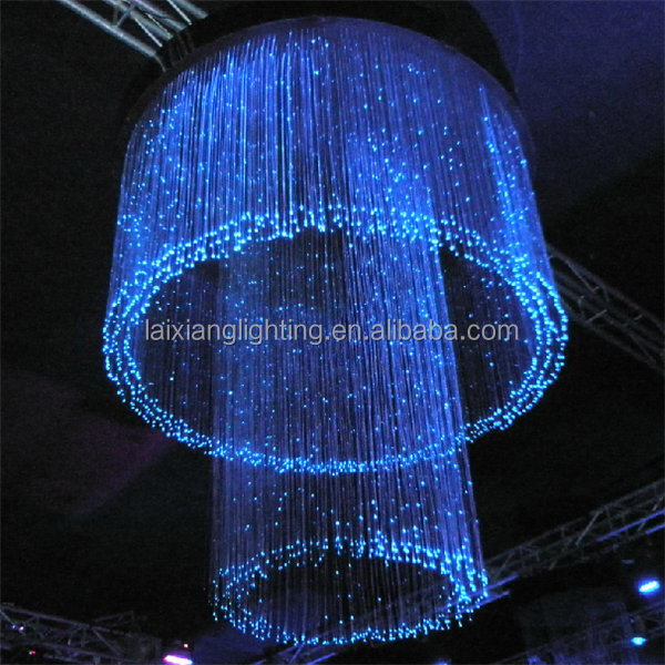 2017 Zhongshan modern led changeable colors fiber optical chandelier for indoor decoration lighting
