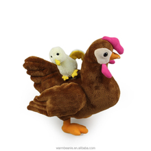 Best price wholesale customized popular stuffed plush hen carrying a chick toys plush chicken toys for kids