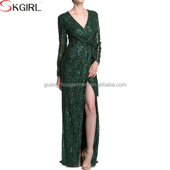 b4592838d640 2017 Boutique quality green long sleeve deep v neck luxury sequin maxi  evening dresses for women