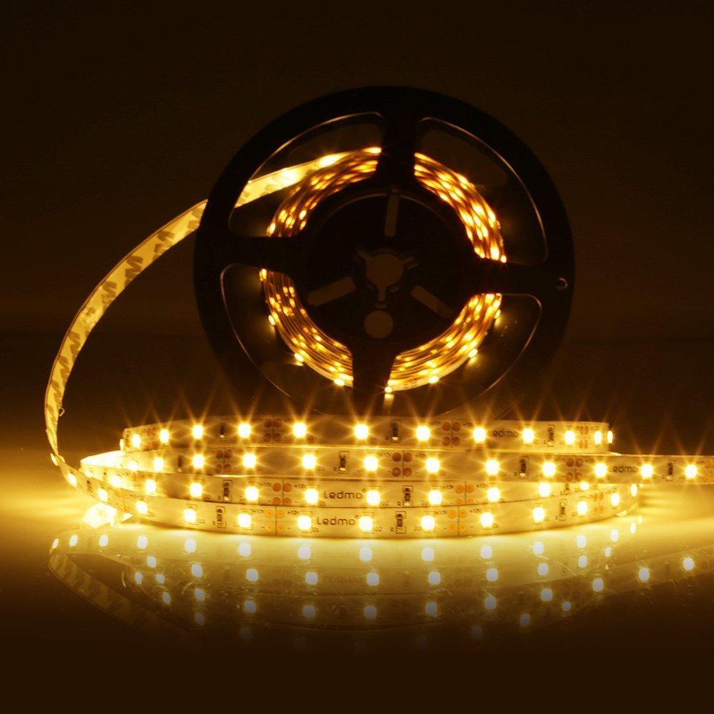 LEDMO Flexible LED Strip Lights, DC 12V LED Light Strip, LED Tape, 300 Units SMD5050 LEDs, Warm White 4000K,16.4Ft Halloween Decorations