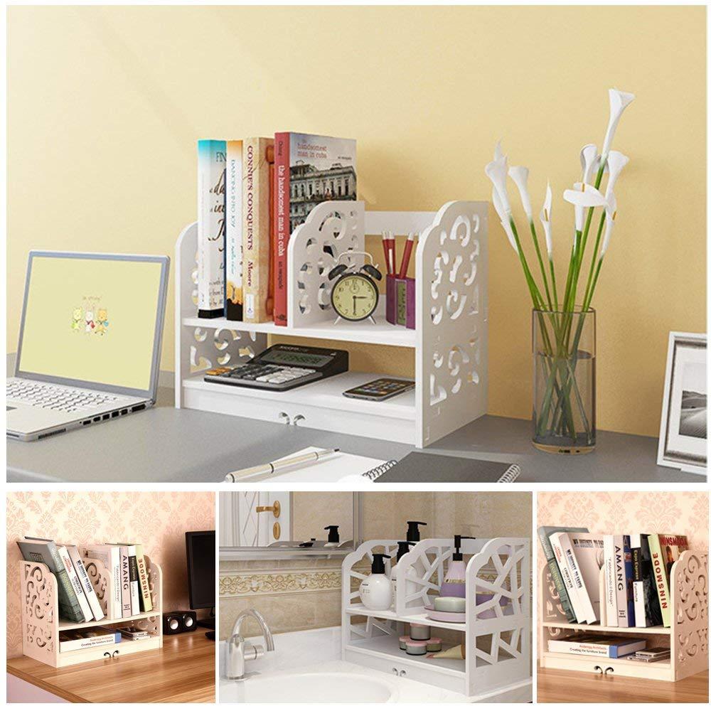 QJR Wood-plasti Openwork Freestanding Book Shelf Large Size 3 Rows Bookshelf White (Small)