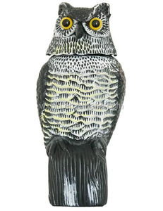 Large Realistic Bird/Pigeon/Crow Control Scarer Rotating Head Owl Decoy