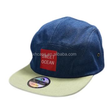 817c858b4c7afa blue jean plain blank denim 5 panel cap and hat woven label flat suede brim  washed