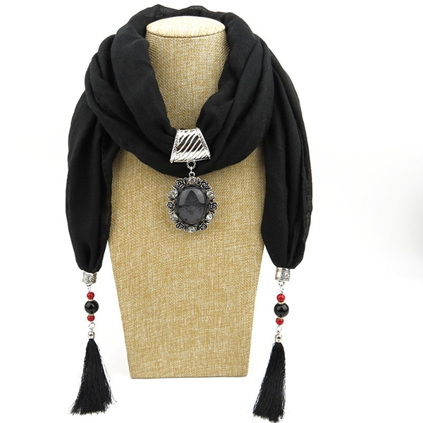 RM13 Fashion Women's Elegant Charm Tassels Rhinestone Decorated Jewelry Pendant Necklace Scarf with beads pendant