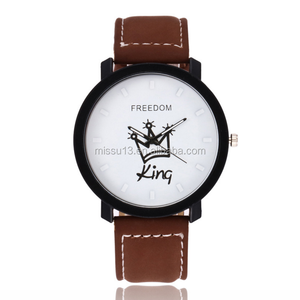2018 new popular king queen leather quartz wrist chinese couple watch