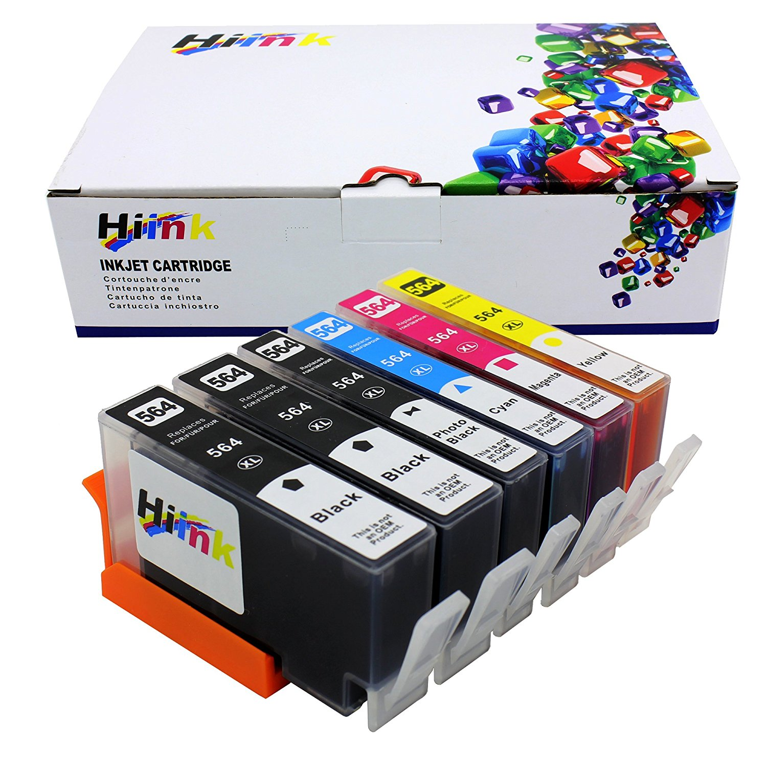 HI INK 6 Pack 564xl ink cartirdge Replacement For HP 564XL ink used in HP Photosmart 5520 6520 7520 5510 6510 7510 7525 B8550 C6380 D7560 Premium C309A C410 Officejet 4620 Deskjet 3520