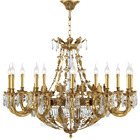 Best quality european 15 light glass brass crystal chandelier for high ceilings