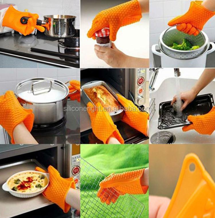 aanpassen rubberen siliconen ovenwanten met de vingers